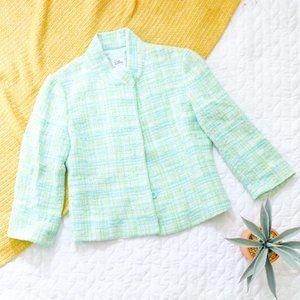 Lilly Pulitzer • Vintage Green Tweed Blazer Jacket